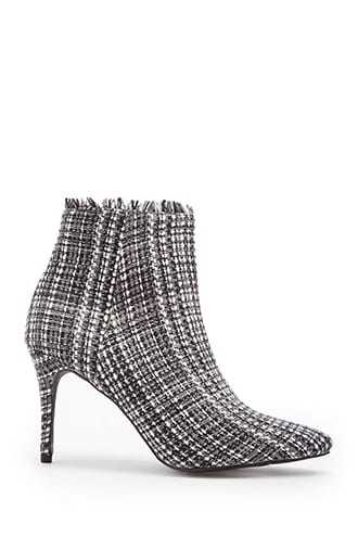 Forever 21 Jane And The Shoe Tweed Booties  Grey/multi - GOOFASH