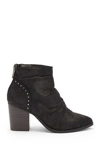 Forever 21 L4L By Lust For Life Washed Faux Leather Booties  Black - GOOFASH