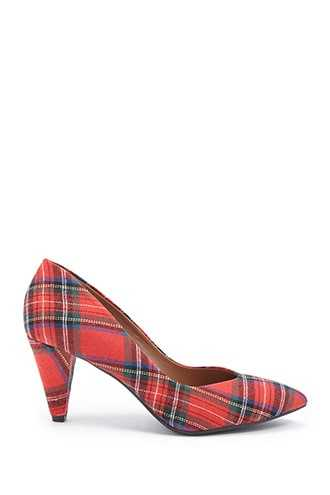 Forever 21 L4L by Lust for Life Plaid Pumps Red - GOOFASH