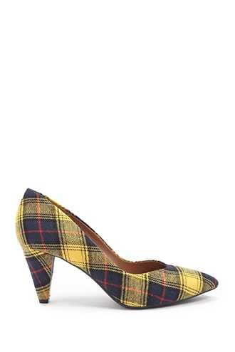 Forever 21 L4L by Lust for Life Plaid Pumps  Yellow - GOOFASH