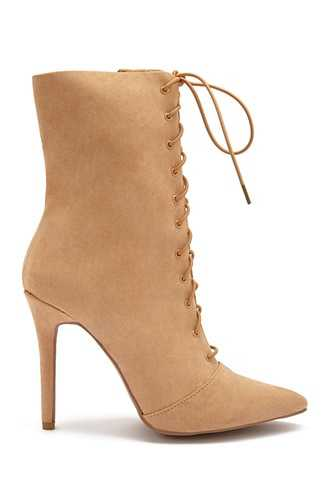 Forever 21 Lace-Up Stiletto Booties  Taupe - GOOFASH