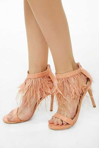 Forever 21 Lemon Drop by Privileged Faux Feather Heels  Blush - GOOFASH