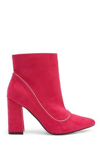 Forever 21 Lemon Drop by Privileged Faux Suede Booties  Fuchsia - GOOFASH