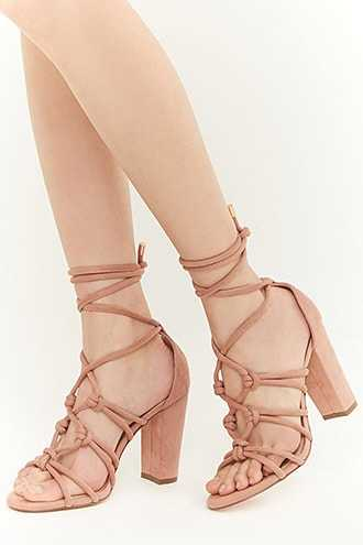 Forever 21 Lemon Drop by Privileged Ghillie Lace Heels  Blush - GOOFASH