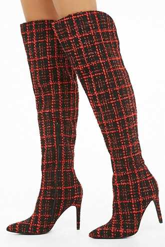 Forever 21 Lemon Drop by Privileged Over-The-Knee Boots  Black/red - GOOFASH
