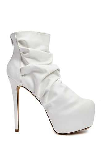 Forever 21 Lemon Drop by Privileged Ruched Platform Booties  White - GOOFASH