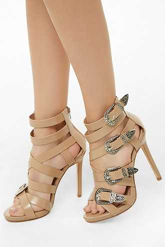 Forever 21 Lemon Drop by Privileged Strappy Stiletto Heels  Nude - GOOFASH