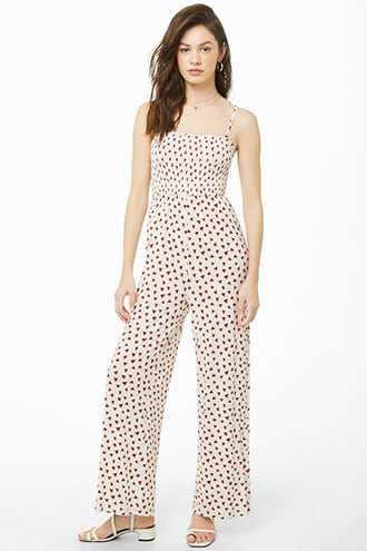 Forever 21 Lounge Heart Print Jumpsuit  Cream/red - GOOFASH