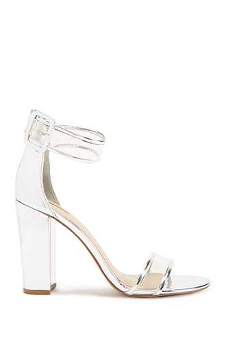 Forever 21 Metallic Clear-Strap Heels  Silver - GOOFASH