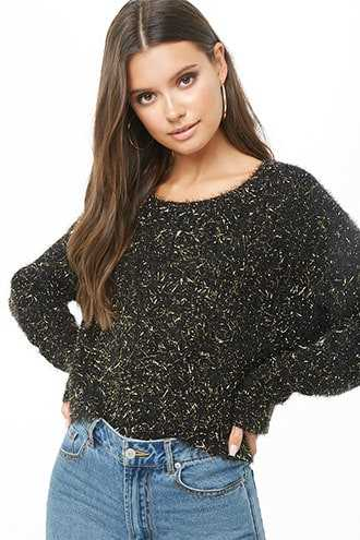 Forever 21 Metallic Fuzzy Knit Sweater  Black - GOOFASH