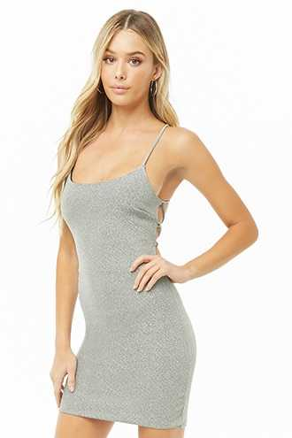 Forever 21 Metallic Lace-Up Mini Dress  Silver - GOOFASH