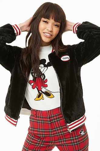 Forever 21 Mickey Mouse Faux Fur Varsity Jacket  Black/red - GOOFASH