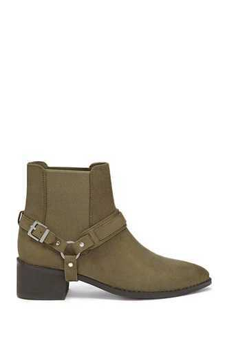 Forever 21 Microfiber Buckle Ankle Booties  Olive - GOOFASH