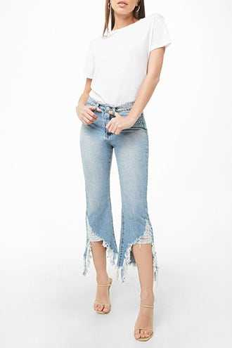 Forever 21 Momokrom Distressed Cropped Jeans  Blue - GOOFASH