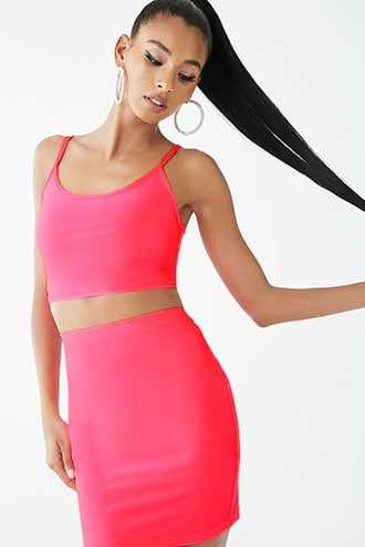 Forever 21 Neon Cropped Cami & Mini Skirt Set  Neon Pink - GOOFASH