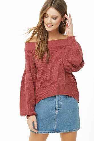 Forever 21 Off-the-Shoulder Balloon Sleeve Sweater  Marsala - GOOFASH