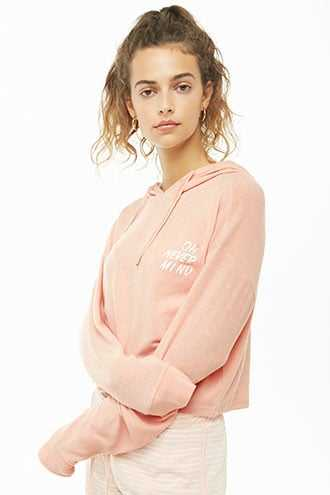 Forever 21 Oh Never Mind Graphic Hoodie  Pink - GOOFASH