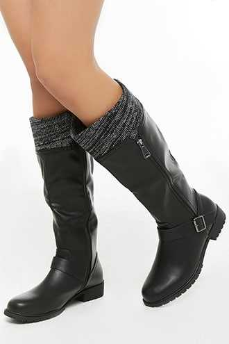 Forever 21 Olivia Miller Sweater Top Boots  Black - GOOFASH