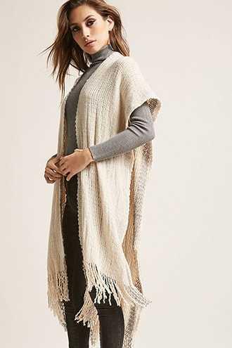 Forever 21 Open-Front Purl-Knit Poncho  Ivory - GOOFASH