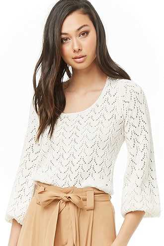 Forever 21 Open-Knit Cutout Sweater  Cream - GOOFASH