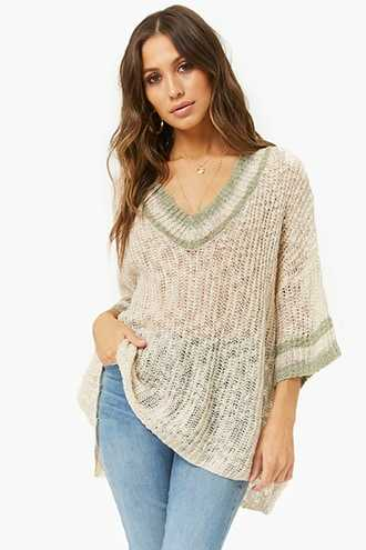 Forever 21 Open-Knit Striped-Trim Sweater  Oatmeal - GOOFASH