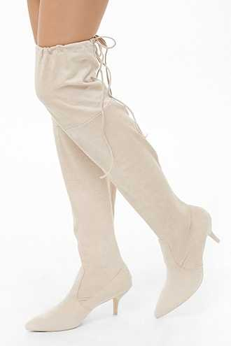Forever 21 Over-The-Knee Faux Suede Boots  Nude - GOOFASH
