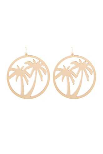 Forever 21 Palm Tree Pendant Drop Earrings  Gold - GOOFASH