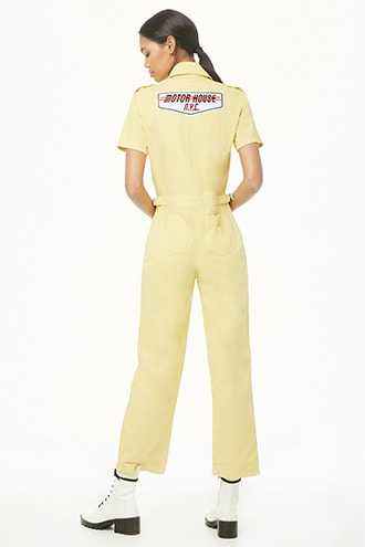 Forever 21 Patch Graphic Utility Jumpsuit  Yellow/red - GOOFASH