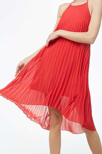 Forever 21 Pleated High-Low Dress  Red - GOOFASH