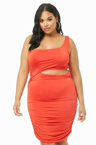Forever 21 Plus Size Cutout Ruched One-Shoulder Dress  Tomato - GOOFASH