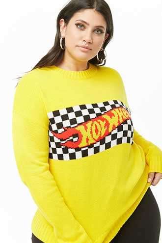 Forever 21 Plus Size Hot Wheels Knit Sweater  Yellow/multi - GOOFASH