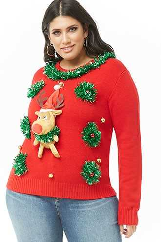 Forever 21 Plus Size Reindeer Christmas Sweater  Red/multi - GOOFASH