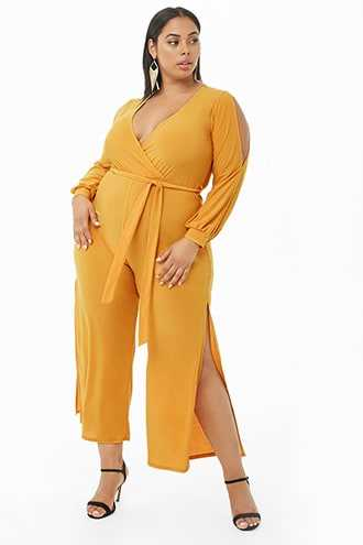 Forever 21 Plus Size Surplice Belted Jumpsuit  Mustard - GOOFASH