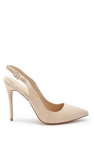 Forever 21 Pointed Slingback High Heels  Nude - GOOFASH