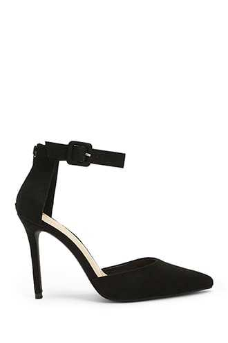 Forever 21 Pointed Toe Faux Suede Heels  Black - GOOFASH