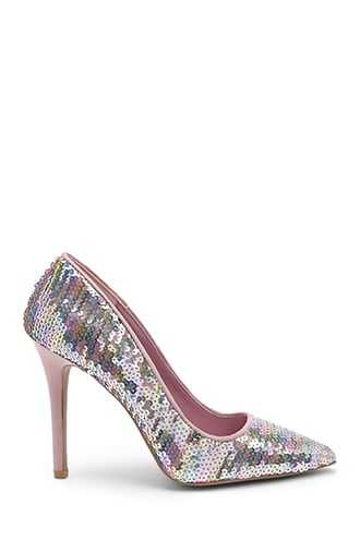 Forever 21 Qupid Sequin Pumps  Pink - GOOFASH