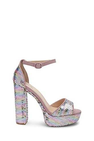 Forever 21 Qupid Sequined Chunky Heels  Pink/multi - GOOFASH