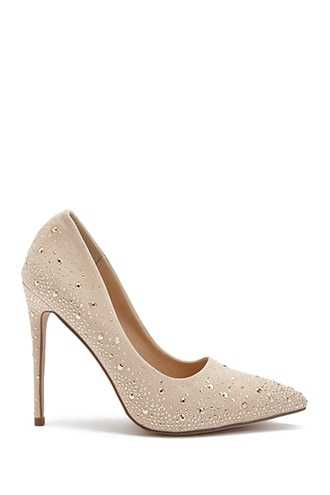 Forever 21 Rhinestone Faux Suede Pumps  Nude - GOOFASH