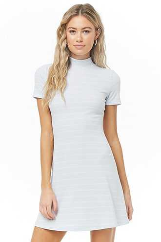 Forever 21 Ribbed Mock Neck Dress  Light Blue/white - GOOFASH