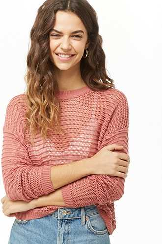 Forever 21 Ribbed Open-Knit Sweater Salmon - GOOFASH