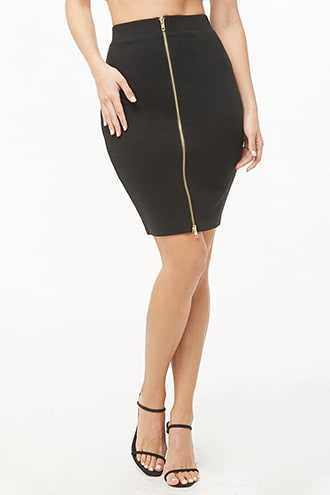 Forever 21 Ribbed Pencil Midi Skirt Black - GOOFASH