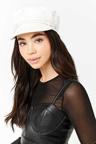 Forever 21 Rope Trim Cabby Hat  White - GOOFASH