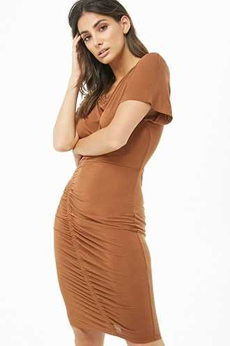 Forever 21 Ruched Knee-Length Dress  Brown - GOOFASH