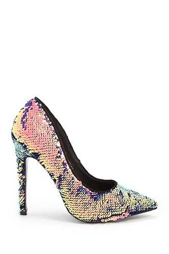 Forever 21 Sequin Pointed Toe Pumps  Gold - GOOFASH