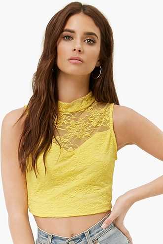 Forever 21 Sheer Floral Lace Crop Top  Yellow - GOOFASH