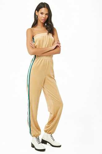 Forever 21 Side-Striped Strapless Jumpsuit  Tan - GOOFASH