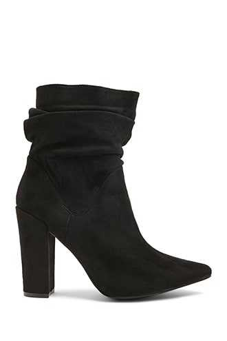 Forever 21 Slouchy Faux Suede Booties  Black - GOOFASH