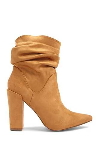 Forever 21 Slouchy Faux Suede Booties  Camel - GOOFASH
