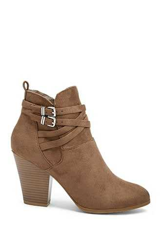 Forever 21 Strappy Faux Leather Booties  Taupe - GOOFASH