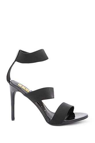 Forever 21 Strappy Faux Patent Leather Heels  Black - GOOFASH